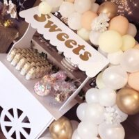 Blush & Nude Balloons With Sweet Cart