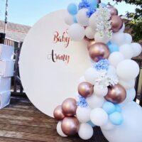 Blue, White & Rose Gold Balloons Baby Blocks White Circle Backdrop